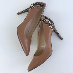 NEW Marc Fisher Tan & Snake Print Heels